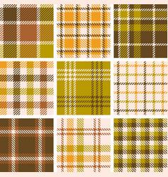 set of plaid seamless pattern for fall season vector image