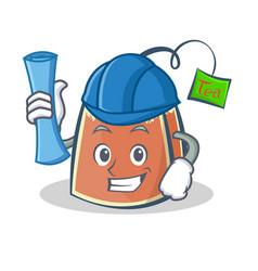 architect tea bag character cartoon art vector image vector image