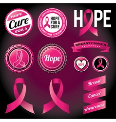 Breast Cancer Awareness Ribbons and Badges vector image