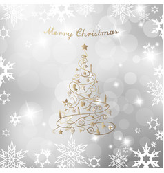christmas tree on silver background and merry vector image vector image