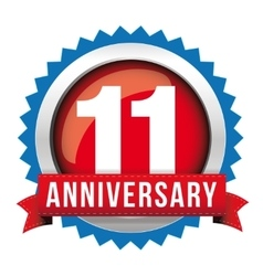 Eleven years anniversary badge with red ribbon vector image vector image