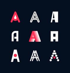 A set emblems capital letters a latin vector