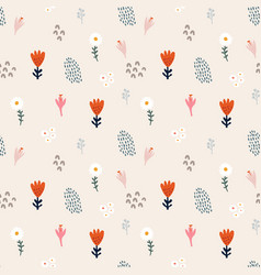 abstract floral seamless pattern hand drawn daisy vector image