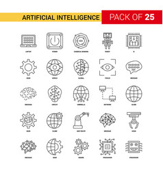 artificial intelligence black line icon - 25 vector image