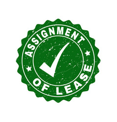 assignment of lease scratched stamp with tick vector image
