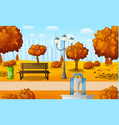 Autumn city park with bench and fountain vector