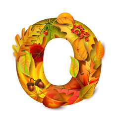 Autumn stylized alphabet with foliage letter o vector