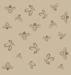 bee lines pattern on brown background vector image