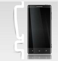 Black screened phone with an exclamation mark vector