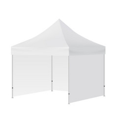 Blank square tent with three walls mock up vector