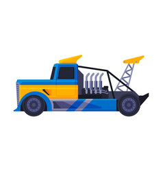 blue turbo truck fast heavy sport vehicle flat vector image