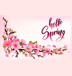 Branch of sakura or cherry blossom vector