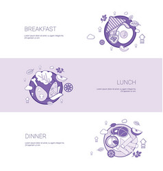 Breakfast lunch and dinner meal concept template vector