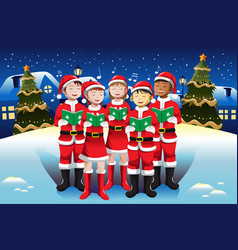 children singing in christmas choir vector image