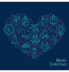 Christmas card in the shape of heart vector
