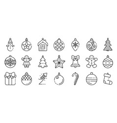 christmas tree toys icons set outline style vector image
