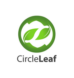 circle leaf logo concept design symbol graphic vector image