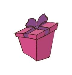 Color gift box ribbon sketch vector