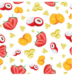 Colorful fruit sliced seamless pattern vector