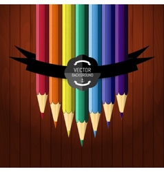 colorful seven pencils on wooden background vector image