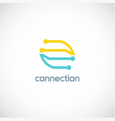 connect line dot color logo vector image