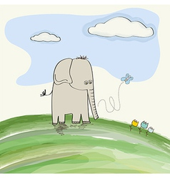 cute doodle elephant vector image