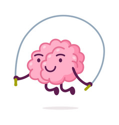 Cute pink brain jumping rope funny human nervous vector