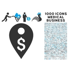 Dollar Map Marker Icon with 1000 Medical Business vector image