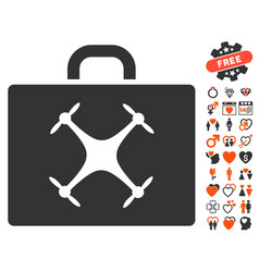 Drone case icon with love bonus vector
