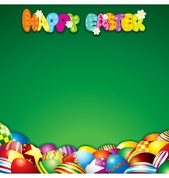 Easter Background with Colorful Painted Eggs vector image