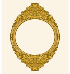 engraved gold floral frame vector image