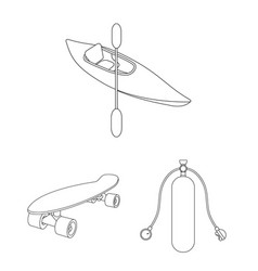 Extreme sport outline icons in set collection for vector