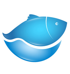 fish in blue wave vector image