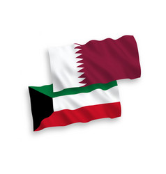 Flags qatar and kuwait on a white background vector
