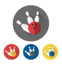 Flat bowling ball and skittles icons vector image