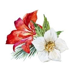 Flowers with bird vector
