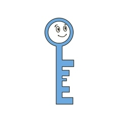 Funny key with human face vector