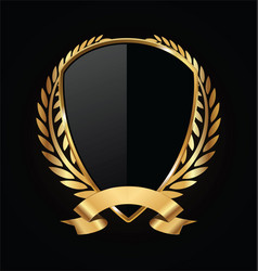 Gold and black shield with gold laurels 16 vector