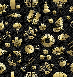 Gold chinese asia culture icon seamless pattern vector image vector image