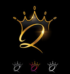 Golden monogram crown initial letter q vector