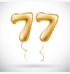 Golden number 77 seventy seven metallic balloon vector