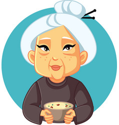 Granny holding homemade noodles soup bowl vector