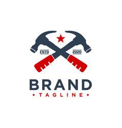 hammer building logo design vector image
