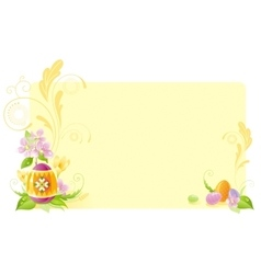 Happy Easter banner border Spring landscape vector image