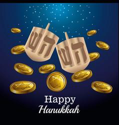 Happy hanukkah celebration card with dreidels and vector