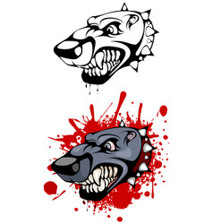 Head of evil dog vector