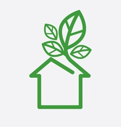 House With Green Leaves Ecology Concept Ill vector image