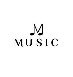 Initial letter m with music note logo design vector
