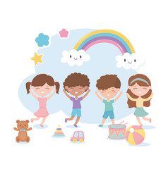 Kids zone cute little boys and girls with bear vector