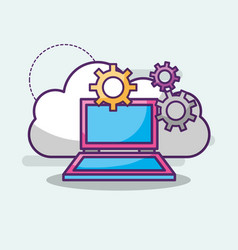 laptop cloud storage setting work digital vector image